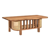 WOODEN COFFEE TABLE WITH CANE (ANC-CWT-001)